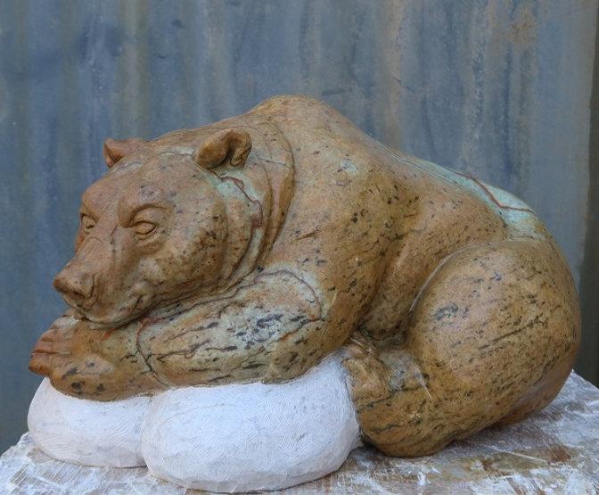 brazilian soapstone sculptor titled Slumber by sculptor andrew gable.