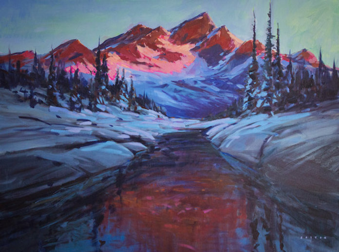 multi-colour arcylic painting titled The Last Light by artist charlie easton