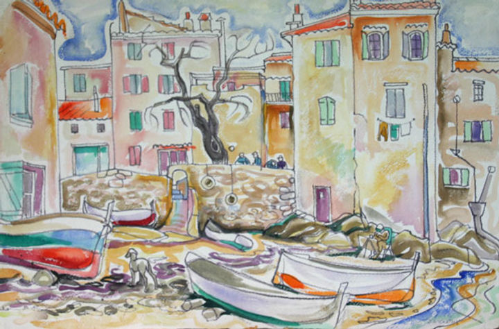 multi-colour watercolour painting titled McCormack Cove 1951 by artist doris mccarthy.