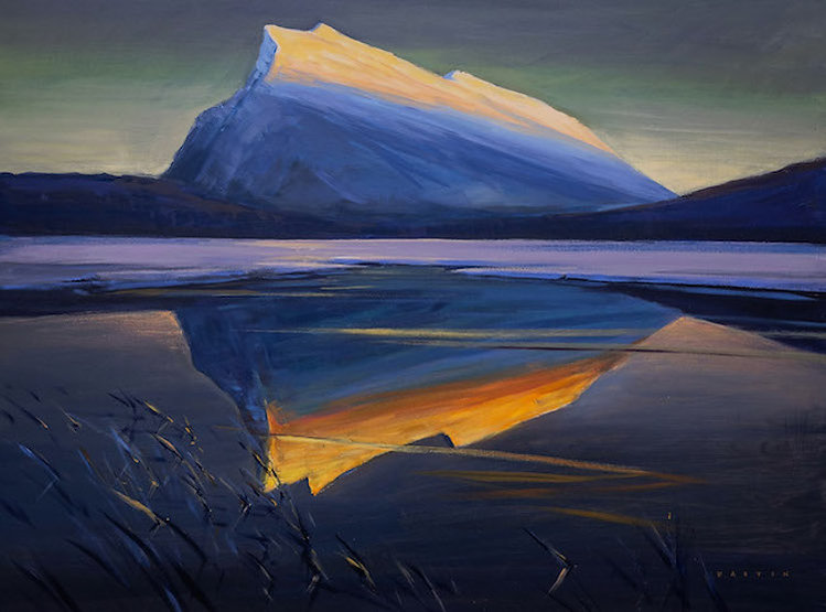 multi-colour arcylic painting titled Rundle Glowing in the Lake by artist charlie easton