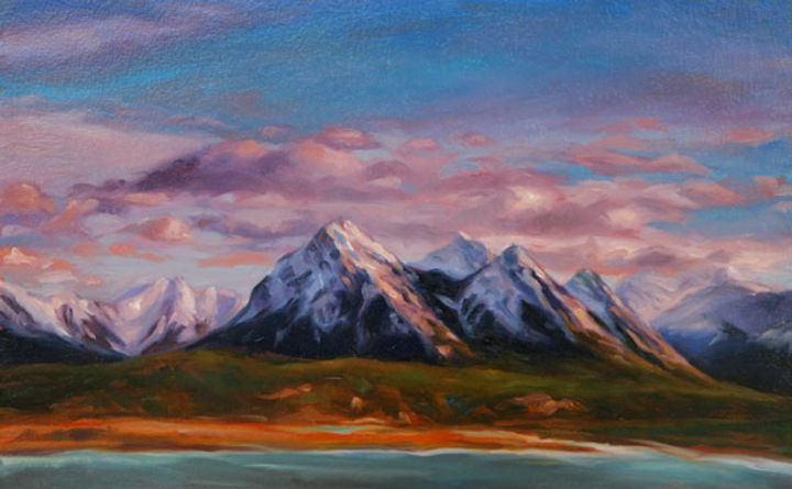 multi-colour oil painting titled Peaks and Valleys by artist michael downs