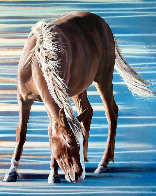 multi-colour oil painting titled Blue Sunrise by artist bigoudi