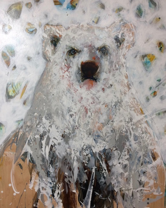 Multi-colour arcylic painting of a bear titled SOLD- Ready to Rumble by artist fran alexander