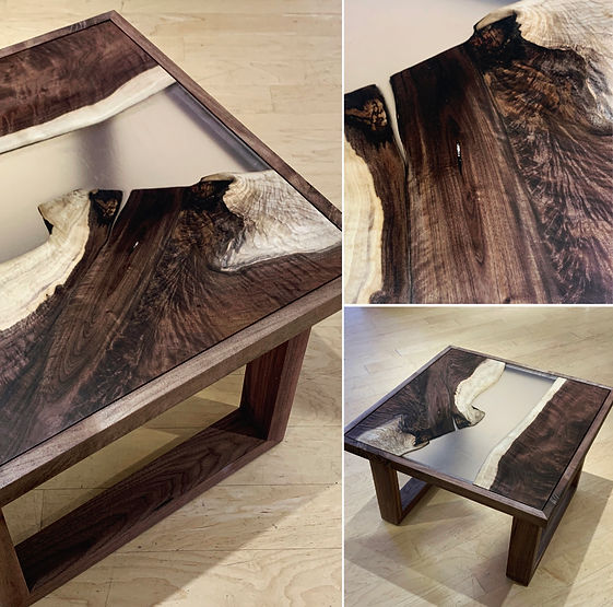furninture titled SOLD-Black Walnut and Resin Coffee Table by artist benjamin mclaughlin.