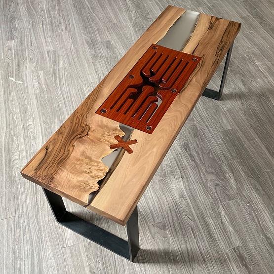 furninture titled SOLD-Wood & Resin Musical Bench by artist benjamin mclaughlin.