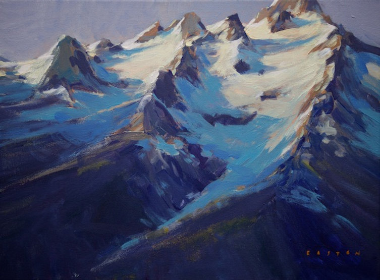 multi-colour arcylic painting titled Alpine Shadows by artist charlie easton