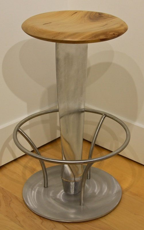 Propeller and chrome stool titled Propeller Bar Stool by aviation furniture designer arnt arntzen