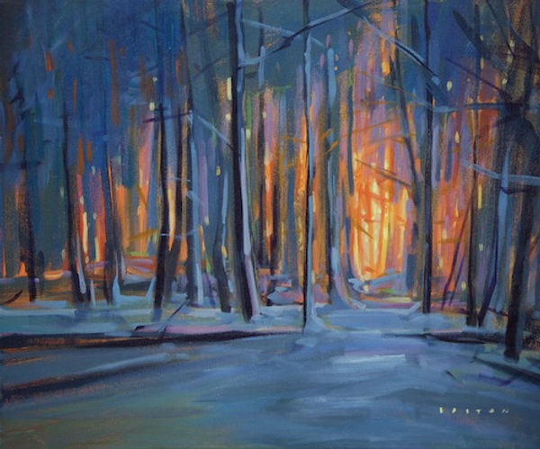 multi-colour arcylic painting titled Winter is Glowing by artist charlie easton