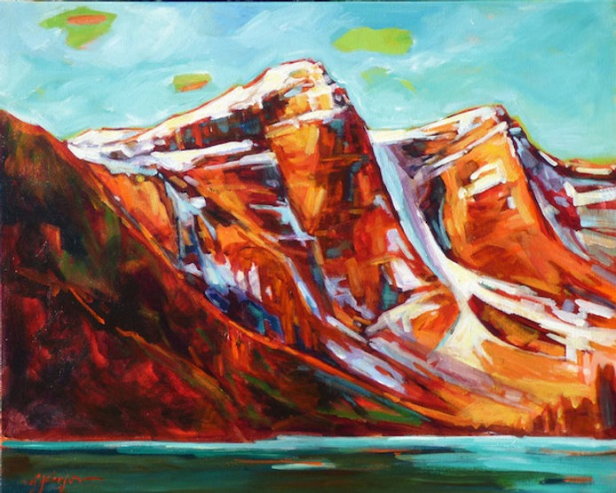 multi-colour acrylic painting titled Moraine Lake Mountains by artist gail johnson.