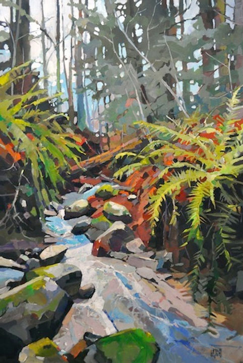 multi-colour arcylic painting titled Burnaby Mountain Stream by artist randy hayashi.