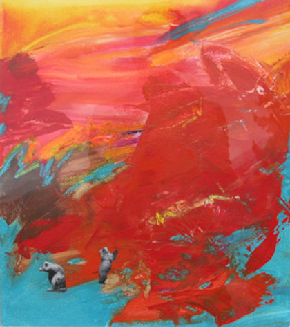 multi-colour mixed media painting titled Exploring Snow Slope by artist maureen enns