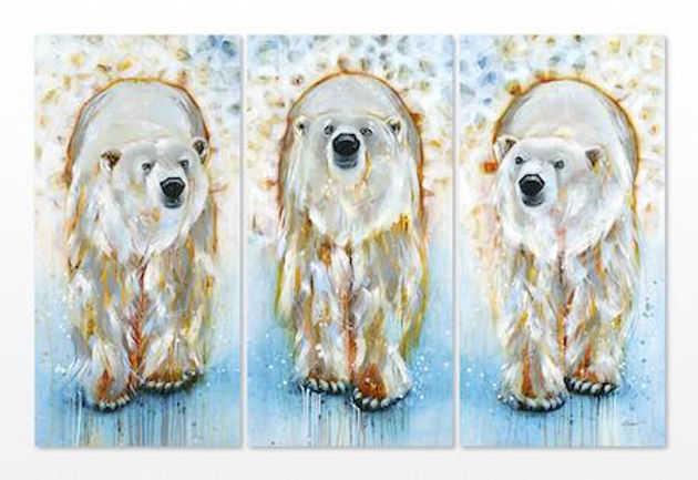 Multi-colour arcylic painting of a bear titled SOLD- Optimistic by artist fran alexander