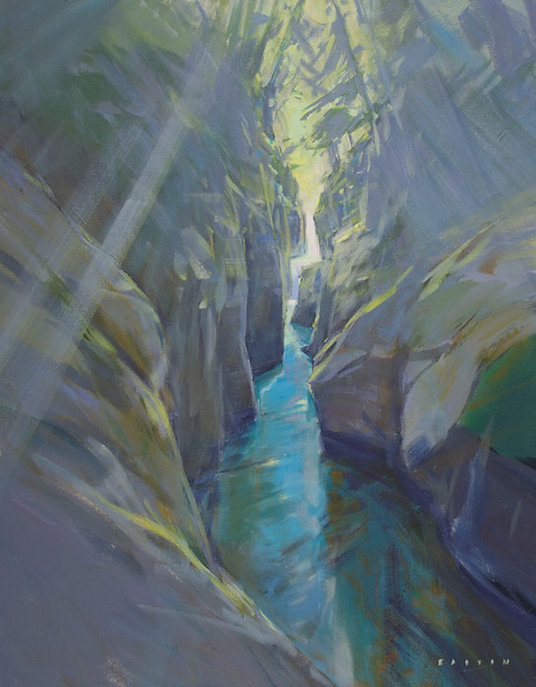 multi-colour arcylic painting titled Narrow Falls by artist charlie easton
