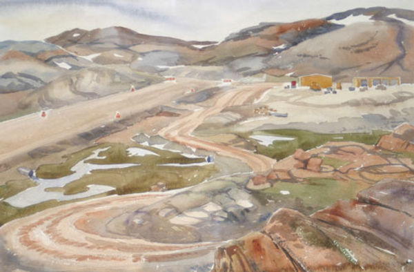 multi-colour watercolour painting titled Air Strip at Lake Harbour 1984 by artist doris mccarthy.