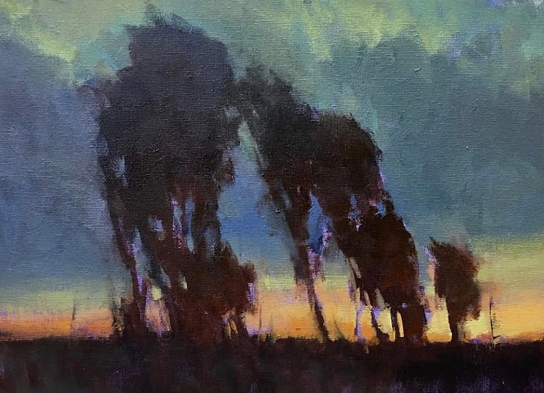 multi-colour oil painting titled SOLD Autumn Dusk by artist david sharpe.