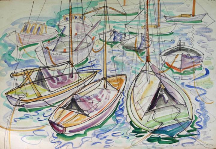 multi-colour watercolour painting titled Boats St.Tropez 1951 by artist doris mccarthy.