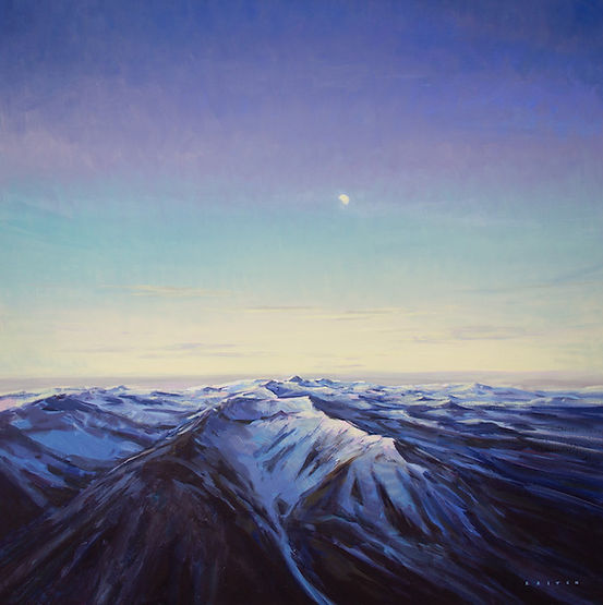 multi-colour oil painting titled Alpine Moon by artist charlie easton