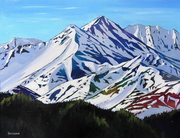 multi-colour acrylic painting titled Yukon Peaks in Spring Thaw by artist phillipa hudson.