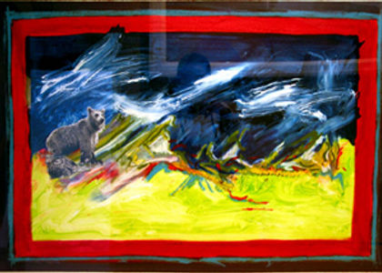 multi-colour mixed media painting titled Biscuit Above Char Creek by artist maureen enns