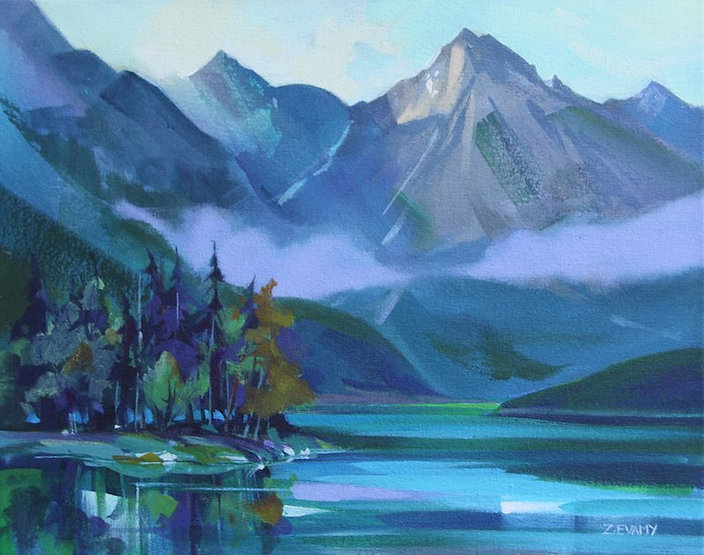 multi-colour arcylic painting titled Medicine Lake' by artist zoe evamy