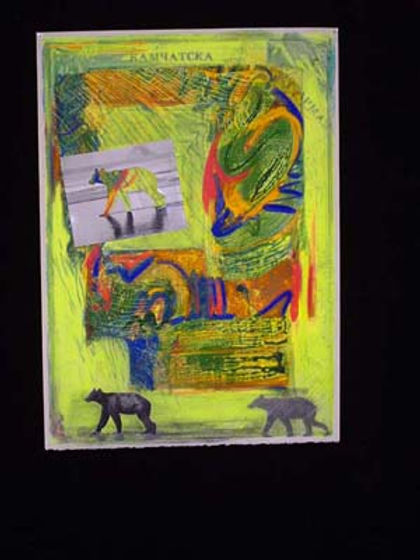 multi-colour mixed media painting titled Bear Walking Kurilskoye Lake by artist maureen enns