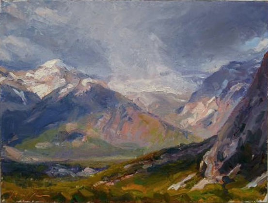 multi-colour oil painting titled The Bow Valley distant storm by artist michael downs