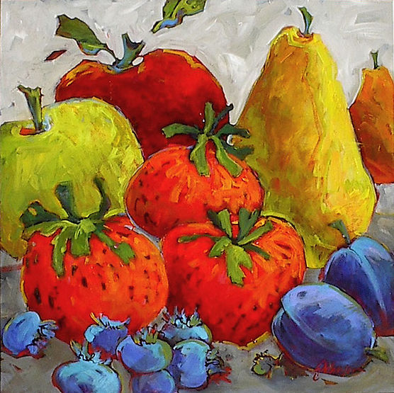 multi-colour acrylic painting titled Summer Fruit by artist gail johnson.