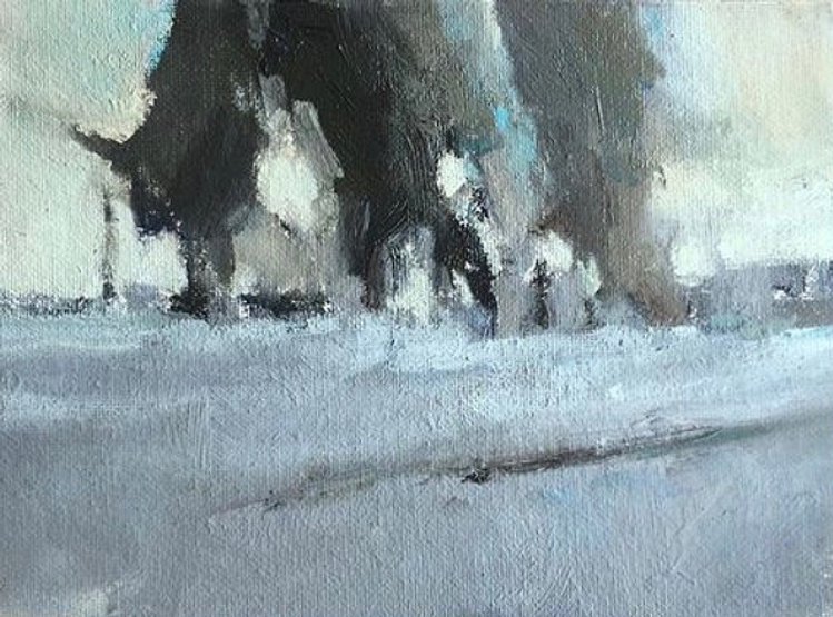 multi-colour oil painting titled Frost and Fog by artist david sharpe.