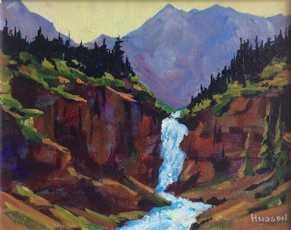 multi-colour acrylic painting titled Falls Above Stanley Mitchell Hut, Yoho Park by artist phillipa hudson.