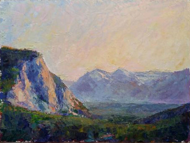 multi-colour oil painting titled The Bow Valley Morning light by artist michael downs