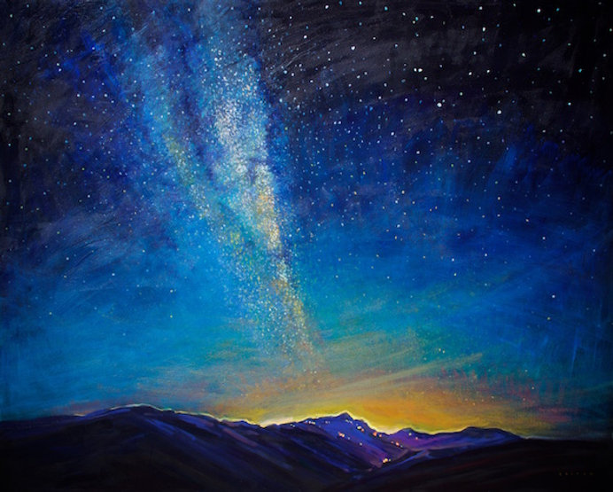 multi-colour arcylic painting titled Milky Way at Whistler by artist charlie easton