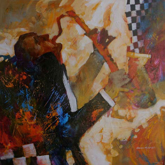 multi-colour mixed media painting titled SOLD- Illuminati' Jazz Series by artist brian atyeo