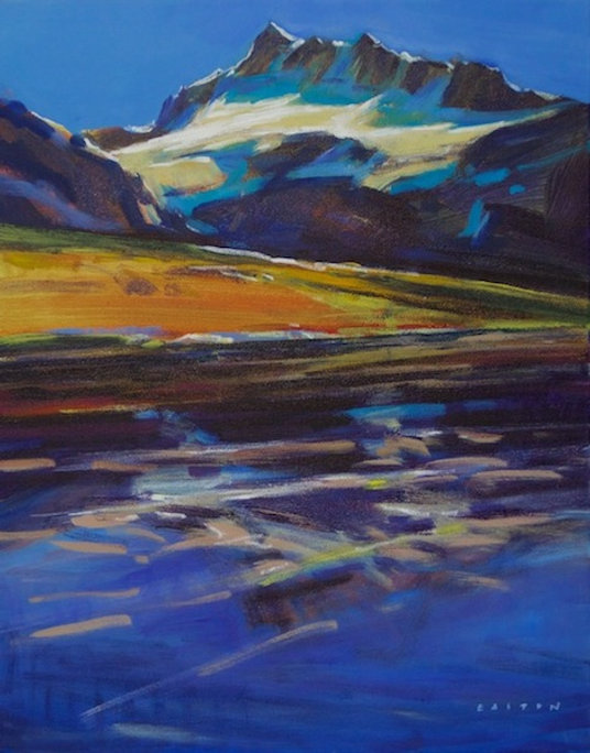 multi-colour arcylic painting titled Mount Fay Reflections by artist charlie easton.