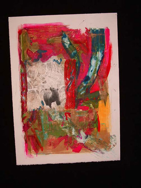 multi-colour mixed media painting titled Watching Charlie Fly the Kolb by artist maureen enns
