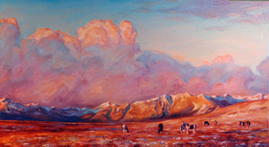 multi-colour oil painting titled Mountains and Plains by artist michael downs