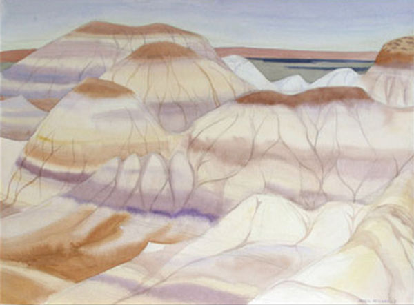 multi-colour watercolour painting titled Badlands Recalled 1993 by artist doris mccarthy.