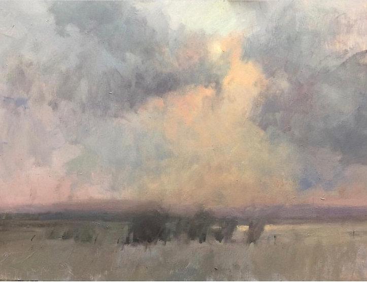 multi-colour oil painting titled Alberta Evening by artist david sharpe.