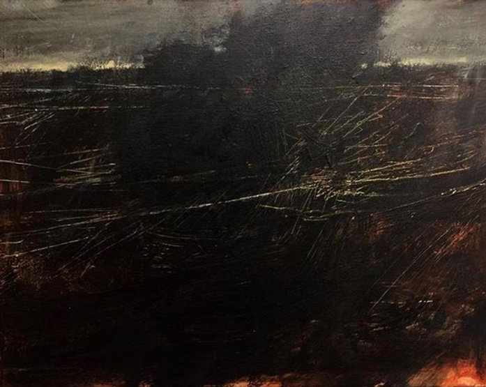 multi-colour oil painting titled Wind From the March by artist david sharpe.
