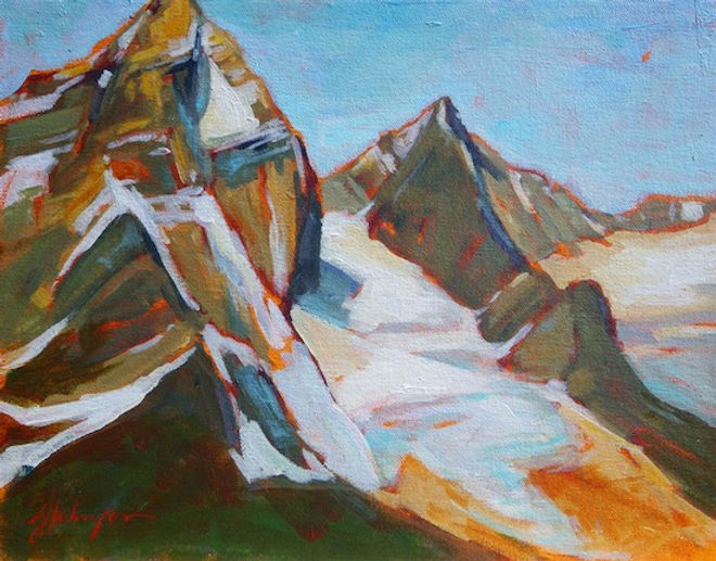 multi-colour acrylic painting titled Mt. Sir Donald from Cook's Outlook by artist gail johnson.