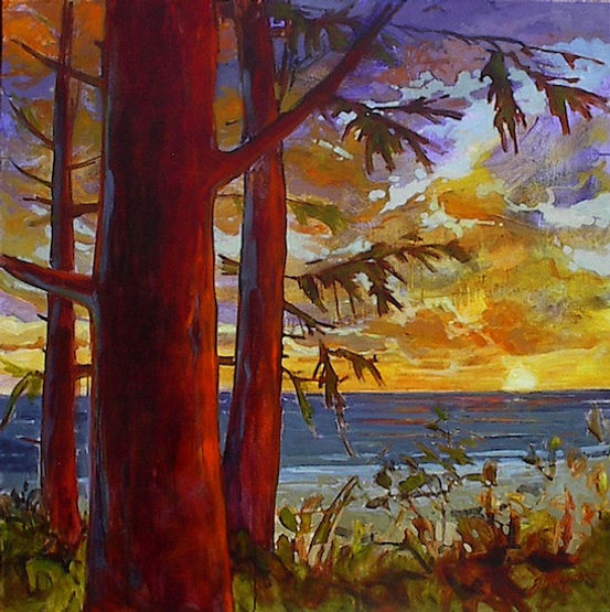 multi-colour acrylic painting titled Trail's Reward by artist gail johnson.