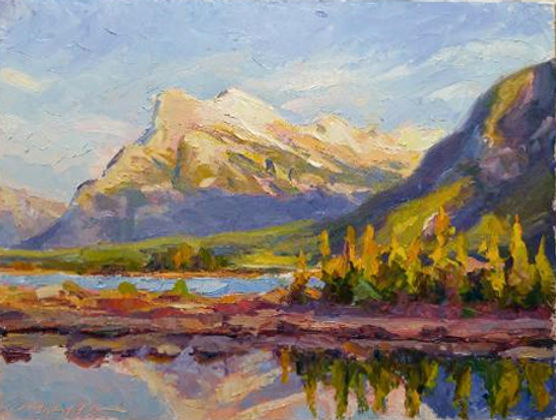 multi-colour oil painting titled SOLD - Mt Rundle late Afternoon by artist michael downs