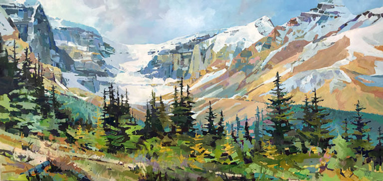 multi-colour arcylic painting titled Snow Dome Summer by artist randy hayashi.