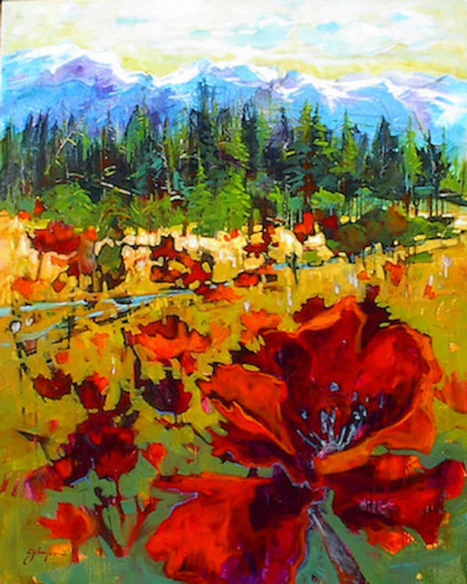 multi-colour acrylic painting titled Rocky Mountain Meadow by artist gail johnson.