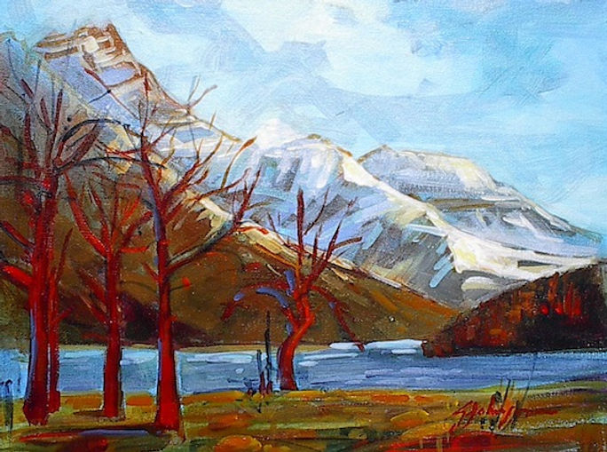 multi-colour acrylic painting titled Waterton Lakes Park by artist gail johnson.