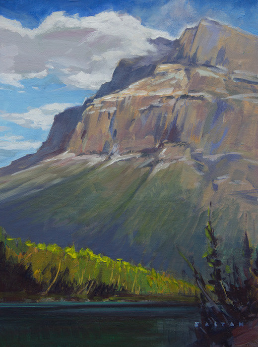 multi-colour oil painting titled Rundle from the River by artist charlie easton