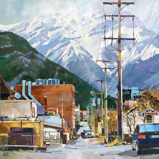 multi-colour arcylic painting titled Banff Alleyway by artist randy hayashi.