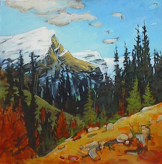 multi-colour acrylic painting titled Rundle from the South by artist gail johnson.