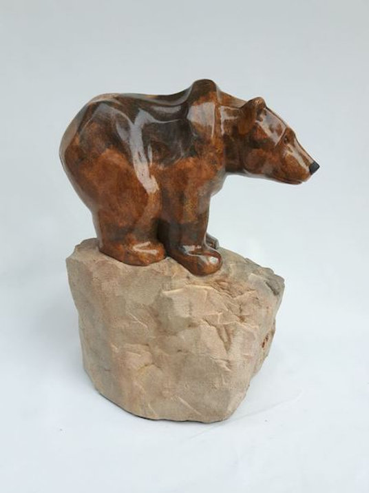 brazilian soapstone scupture titled SOLD - Stare, Stare by sculptor roy hinz.