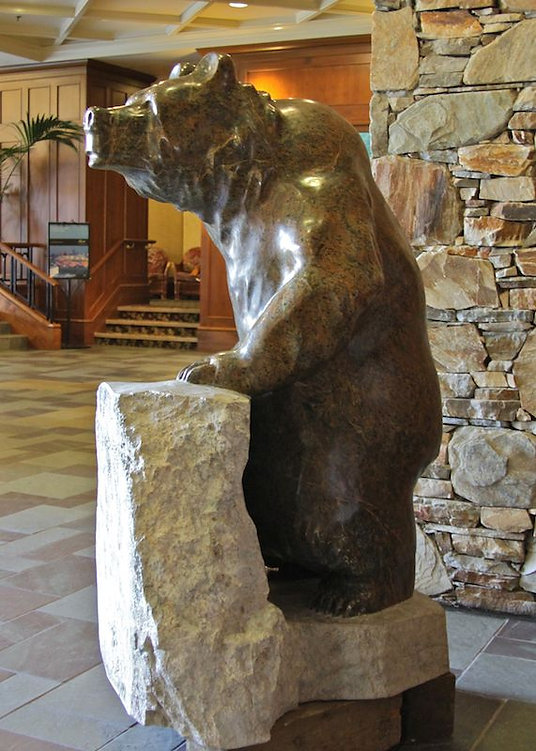 serpentine stone sculpture titled Large Standing Bear by sculptor cathryn jenkins.