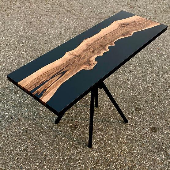 furniture titled Black resin and walnut by artist benjamin mclaughlin.